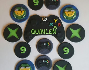 Xbox halo 12 cupcake toppers and cake topper set
