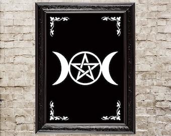 Triple Moon, triple goddess, wicca, wiccan, pagan, magick, full moon, paganism, moon crescent, goddess, moon crescent print, wicca print,123