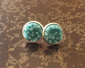 12mm Turquoise Druzy - Silver Settings