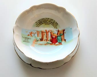 Vintage The Babes In The Wood, Bowl and Plate Set made in Germany