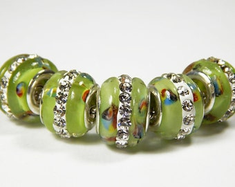 5x Murano Glass Bead - Green With Rhinestones - Lampwork Glass Bead - Large Hole - Fit European - A32