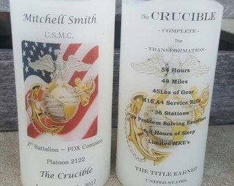 Marine Corps Crucible Candle Have it Personalized EGA USMC Crucible Facts on Back