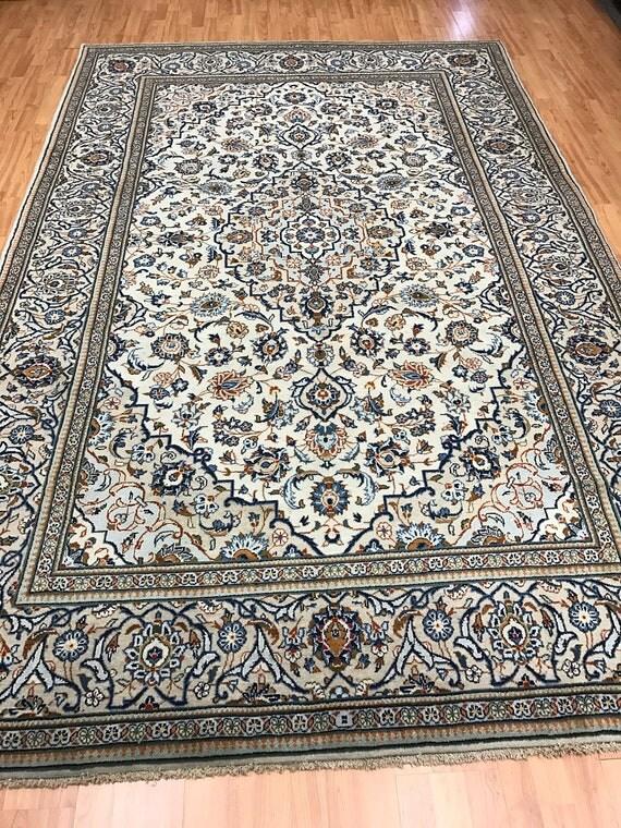 "6'6"" x 10'2"" Persian Kashan Oriental Rug - 1950s - Hand Made - 100% Wool"
