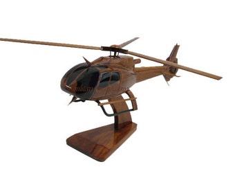 Eurocopter EC130 Civil EMS Medevac Police Law Enforcement Helicopter Wood Wooden Model