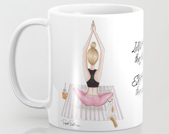 "Mug ""Fitness girl blonde"" custom mug, decor mug, coffee mug, illustrated mug, ceramic mug"