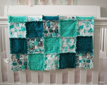 Baby Rag Blanket Gender Neutral, teal, turquoise, mint, aqua, animal print,flannel,baby gift,tummy time, carseat blanket,nursery layette