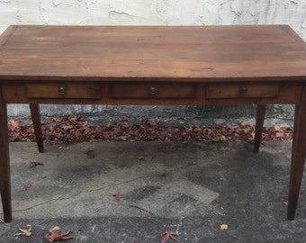 Antique Farm Table with Drawers