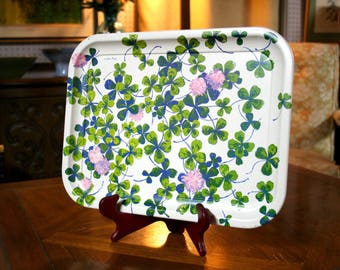 Set of 4 Luther Travis Four Leaf Clover Meal Trays