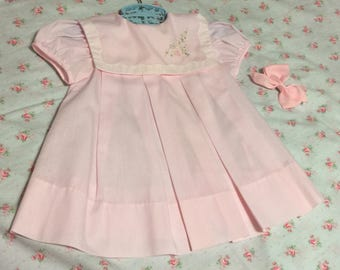 Easter Dress, Pink Baby Dress, Size 18M Girls, Embroidered Portrait Collar, Short Sleeve Dress, Perfect for Spring Photos, Cute for Doll