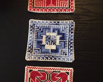 Set of 6 Hand stitched Palestinian Embroidery / Cross Stitch coasters in a choice of colours