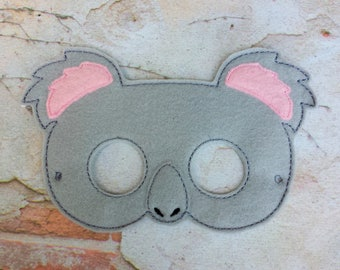 Koala felt mask.Embroidered koala mask.Birthday party mask