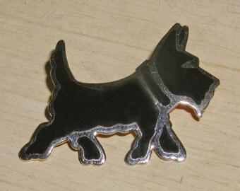 Vintage Black Enamel & Gold tone Scotty Scottie Dog Brooch Pin