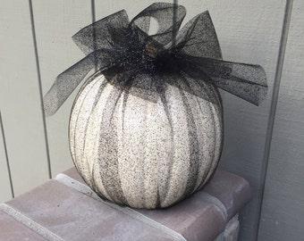 Halloween faux pumpkins in glitter tulle, halloween decor, fall decor, inside outside decoration, halloween pumpkin