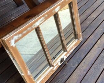 Restored Old Wood Window Mirror
