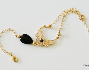 Black Pearl agate and gold-plated bracelet