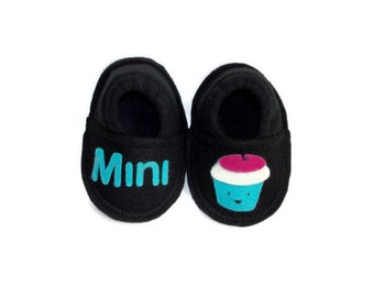 Mini Muffin Baby Booties, Funny Valentines Day Gift for Babies, Soft Sole Crib Shoes, Boy or Girl Slippers Pajama Clothing