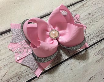 Pink and Silver Over The Top Hair Bow , Pink/Silver Hair Bow,Large Hair Bow , Pink and Silver Hair Bow,Girls Hair Bow, Hair Bow for girls