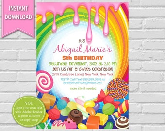 Candyland Birthday Invitation | Sweet Shoppe, Candyland Party, Candy Invitation, Candy Land, Sweet Shop, Candy Party, Candyland Invite