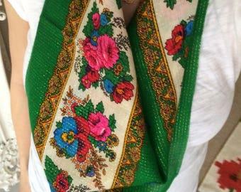Vintage Kelly Green Floral Scarf
