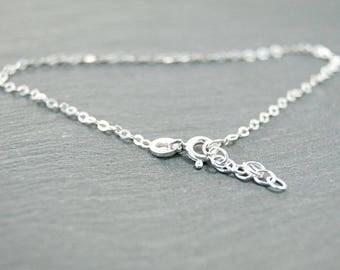 "fine chain bracelet sterling silver 925 length 6,29""-7,48"""