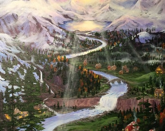 Land of the Mystic Mountains Original Painting