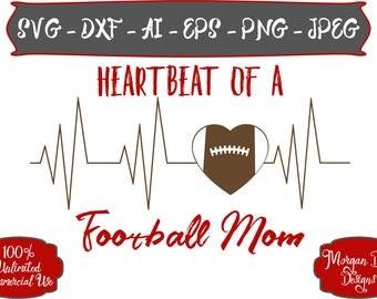 Football Heartbeat SVG - Football Mom SVG - Football SVG - Football Addict svg - Files for Silhouette Studio/Cricut Design Space