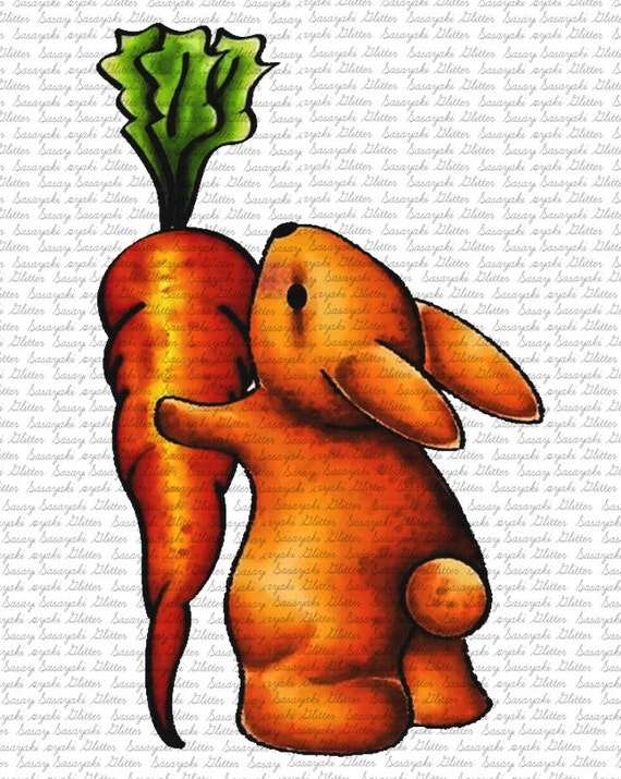 Bunny and Carrot Digital Stamp by Sasayaki Glitter