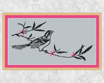 Bird silhouette cross stitch pattern, modern spring blossom counted cross stitch chart, tree branch, pink flowers, instant download PDF