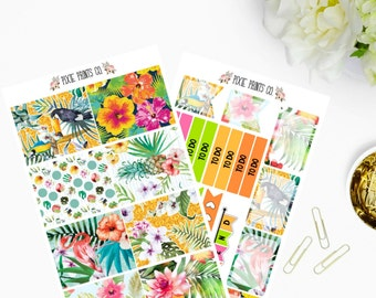 Tropical Paradise Planner Sticker Kit, for use with Erin Condren, Life Planner, ECLP, Planner Stickers, Mambi, Happy Planner, Create 365