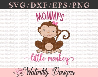 Mommy's Little Monkey SVG/DXF Cut File - Instant Download - Vector Clipart - Iron On Shirt Decal - Cricut - Silhouette - Jungle Theme