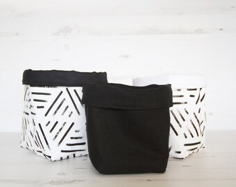 3x Fabric Baskets set, nordic style, home decor storage bin Set of Three