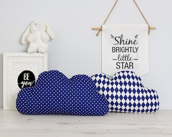Cloud cushions pillows SET in Navy blue,  nursery decor, gifts for kids