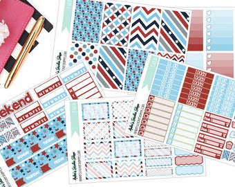 Red White and Blue Memorial Day or Fourth of July Weekly Kit for Happy Planner Planner Stickers