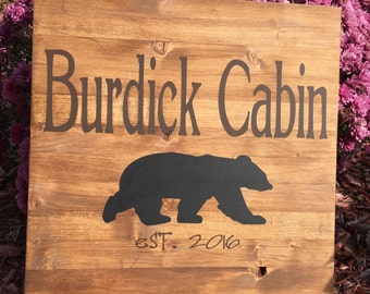 Personalized Custom Wood Sign Bear Cabin