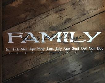 Family Birthday Board - Family Birthday Calendar - Family Celebrations - Classroom Birthdays - Teachers - Wood Sign