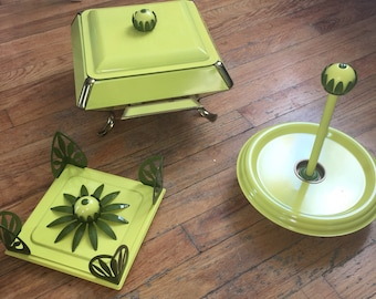 Mid Century Chartreus Avocado Lazy Susan, Chafing Disg Warmer and Napkin Holder