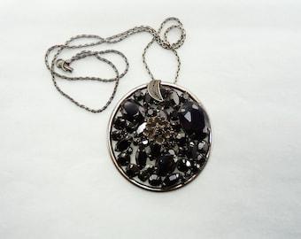 Signed Alice Caviness Black Rhinestone Pendant Necklace Signed