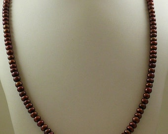 """Freshwater Chocolate 7.1 - 7.5 mm Pearl 37"""" Long Necklace with Silver Fish Lock"""