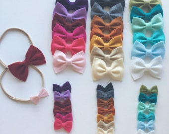 You pick! Mini felt baby bows on nylon headbands or clips set of 3 or 5 colors for kids toddler baby