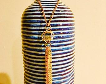Caged Terranium Swarovski Crystal Tassel Necklace