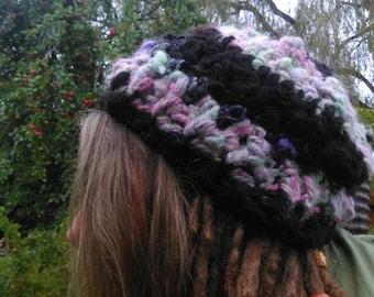 Crocheted hand spun hand dyed art yarn  Alpaca beanie hat