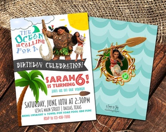 MOANA BIRTHDAY INVITATION | Moana & Maui Birthday Party Invite