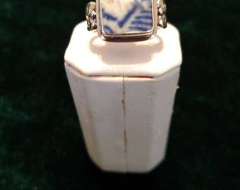 Ming Dynasty Pottery Shard Sterling Silver Ring Size 6 5.3g AFSP