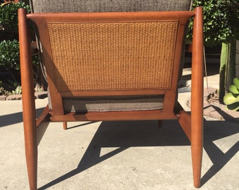 SOLD*** please do not purchase. Vintage Mid Century Danish Cane Lounge Chair