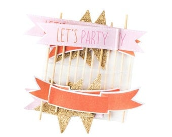 Cupcake Toppers | Gold Pink and Coral Flag Cake Picks