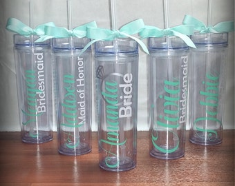 Personalized Wedding Tumbler Cups, Skinny Tumblers, 16 oz Tumbler, Customizable Cups, Water Bottles, Wedding Gift, Personalize, Customize