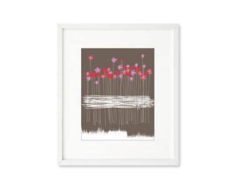 Wildflowers - single print, contemporary graphic, flower bouquet, simplified line art, modern, wall art, home décor