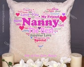 Luxury Personalised 18 Chenille Cushion  Pad Nanny Word Cloud Heart Free Delivery
