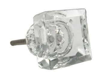 Square Clear Glass Decorative Dresser Drawer, Cabinet or Door Knob Pull - G89