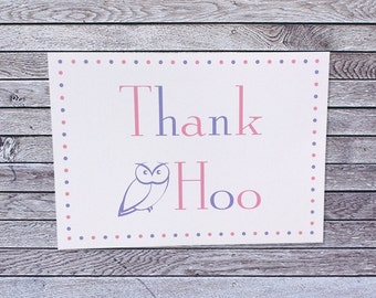 Owl Thank You Card / Single or Pack of Thank You Cards (019)